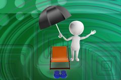 3d man umbrella chair and slipper illustration Stock Photos