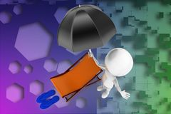 3d man umbrella chair and slipper illustration Stock Images