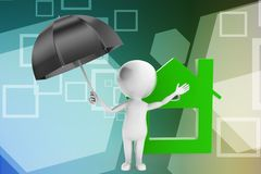 3d man umbrella house illustration Stock Images