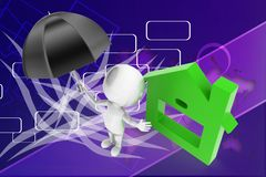 3d man umbrella house illustration Stock Photography