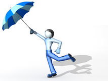 3D man with umbrella. Isolated on a white background Royalty Free Stock Images