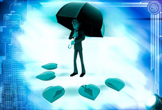 3d man with umbrella and many red hearts illustration Stock Images