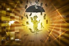 3d man and umbrella in money rain Royalty Free Stock Photos