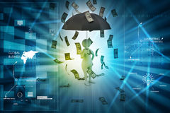 3d man and umbrella in money rain Stock Photography