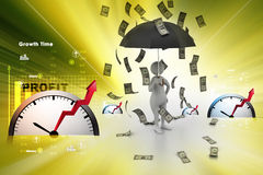 3d man and umbrella in money rain Stock Photos