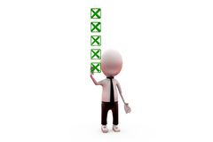 3d man uncheck concept Royalty Free Stock Image