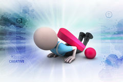 3d man under the exclamation  mark Stock Images