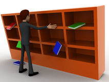 3d man under falling books and book shelf concept Stock Images