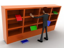3d man under falling books and book shelf concept Royalty Free Stock Photos