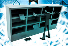 3d man under falling books and book shelf illustration Royalty Free Stock Image