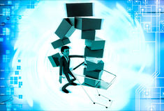 3d man under falling cubes from cart illustration Royalty Free Stock Image