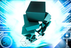 3d man under falling cubes from cart illustration Royalty Free Stock Images