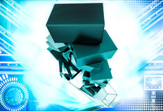 3d man under falling cubes from cart illustration Royalty Free Stock Photo