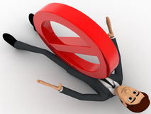 3d man under pressure of stop symbol concept Royalty Free Stock Image