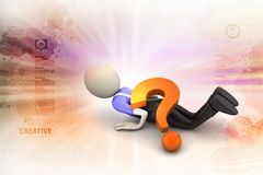 3d man under the question mark. In color background Royalty Free Stock Photography