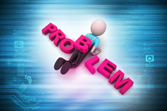 3d man under the word problem Royalty Free Stock Images