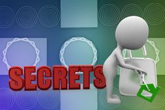 3d man unlock secrets illustration Royalty Free Stock Photo