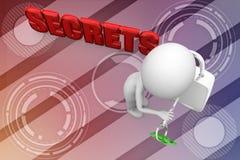 3d man unlock secrets illustration Royalty Free Stock Photography