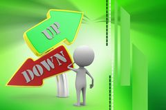 3d man up and down sign board illustration Royalty Free Stock Photography