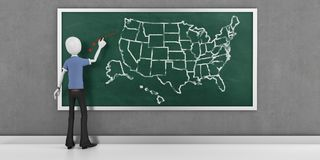 3d man with USA  map on the blackboard Royalty Free Stock Photography