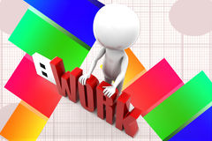 3d Man Usb Work Illustration Stock Photos