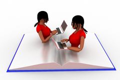 3d Man Using Laptop on Book Illustration Stock Images