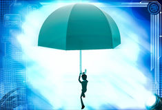 3d man using umbrella as parashoot illustration Stock Images