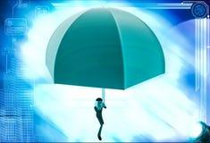 3d man using umbrella as parashoot illustration Royalty Free Stock Photos