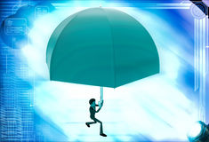 3d man using umbrella as parashoot illustration Stock Photos