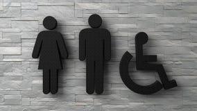 3d man van de toiletvrouw en gehandicapte tekens op witte bakstenen muur Stock Illustratie