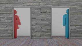 3d man van de toiletvrouw en gehandicapte tekens op witte bakstenen muur Royalty-vrije Illustratie