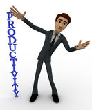 3d man with vertical productivity concept Royalty Free Stock Images