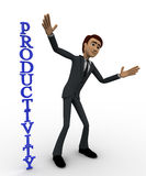 3d man with vertical productivity concept Stock Photography