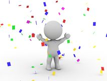 3D Man Victory Confetti Royalty Free Stock Images