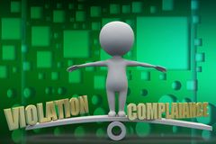 3d man violation compliance illustration Royalty Free Stock Photography