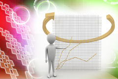 3d man with virtual graph and arrows Illustration Stock Images
