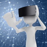 3d man with  virtual reality goggles Stock Photo