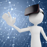 3d man with  virtual reality goggles Royalty Free Stock Photo