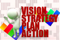 3d Man Vision, Strategy, Plan Action Illustration Stock Photo