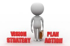 3d man with vision strategy plan action Royalty Free Stock Images