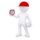 3d man with volleyball ball holding alarm clock Royalty Free Stock Images