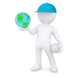 3d man with volleyball ball holding the Earth. 3d white man with a volleyball ball holding the Earth.  render on a white background Stock Photography