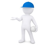 3d man with volleyball ball holds out empty hand Stock Photography