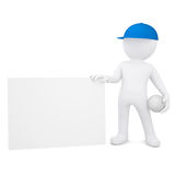 3d man with volleyball hold empty business card. 3d white man with a volleyball ball holding empty business card. Isolated render on a white background Stock Images