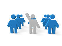 3d man volunteer. 3d render of a group of men with one person raising hand to volunteer stock illustration