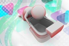 3d man vomiting  illustration Stock Image
