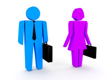 3d man, vrouwenzaken. 3d illustratie Stock Illustratie