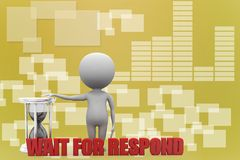 3d man wait for respond  Illustration Royalty Free Stock Photo
