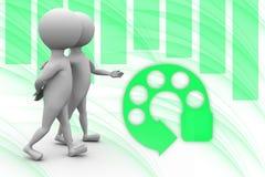 3d man walk with friend illustration Stock Image