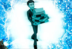 3d man walking with bunch of files in hand illustration Royalty Free Stock Photos